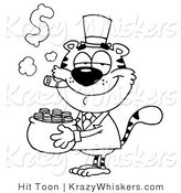Critter Clipart of a Coloring Page of a Tiger Carrying a Pot of Gold and Smoking a Cigar by Hit Toon