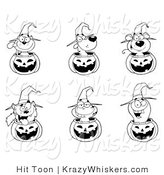 Critter Clipart of a Coloring Page of Animals in Halloween Pumpkins by Hit Toon