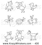 Critter Clipart of a Coloring Page Stick Figure Cat, Dog, Bird, Dragonfly, Ladybug, Butterfly, Pig, Pupy and Horse by C Charley-Franzwa