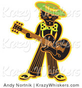 Critter Clipart of a Cool Black Cat Playing a Guitar While Wearing a Hat by Andy Nortnik