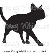 Critter Clipart of a Cool Cat Silhouetted in Black, Walking Forward on White by KJ Pargeter