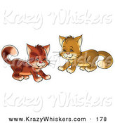 Critter Clipart of a Couple of Playful Brown Kitty Cats Being Frisky by Alex Bannykh