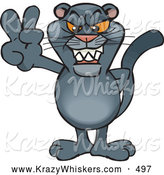 Critter Clipart of a Creepy Peaceful Panther Smiling and Gesturing the Peace Sign by Dennis Holmes Designs
