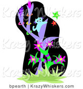 Critter Clipart of a Curious Blue Kitten in a Purple Tree, Trying to Catch Colorful Stars in a Jungle by