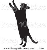Critter Clipart of a Curious Kitty Cat Silhouetted in Black, Standing up on Its Hind Legs and Reaching Upward with Its Paws by KJ Pargeter