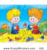 Critter Clipart of a Curious Orange Kitty Watching a Boy and Girl Making Sand Castles with Buckets in a Sand Box by Alex Bannykh