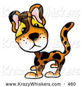 Critter Clipart of a Cute Adorable Leopard with Big Eyes by Dero