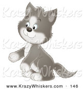 Critter Clipart of a Cute and Adorable Gray and White Tuxedo Cat Sitting up on His Hind Legs by Alex Bannykh