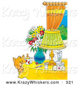 Critter Clipart of a Cute and Curious Orange Cat by a Table with Flowers, a Lamp, Baby Bottle, Pacifier and Baby Supplies by Alex Bannykh