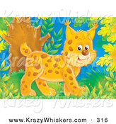 Critter Clipart of a Cute and Happy Baby Bobcat Walking Through a Forest by Alex Bannykh