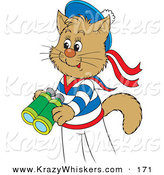 Critter Clipart of a Cute and Happy Sailor Cat in Uniform, Holding a Pair of Binoculars by Alex Bannykh