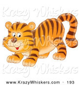 Critter Clipart of a Cute and Playful Tiger Cub Crouching down on His Front Legs, Glancing Back by Alex Bannykh
