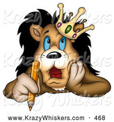 Critter Clipart of a Cute and Stressed Lion King in a Crown, Holding a Pencil and Touching His Face by Dero