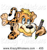 Critter Clipart of a Cute Artistic Leopard Laying on His Belly and Coloring with a Green Crayon by Dero