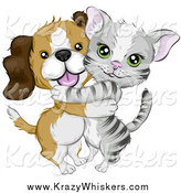 Critter Clipart of a Cute Beagle Puppy Dog Hugging a Gray Kitten by BNP Design Studio