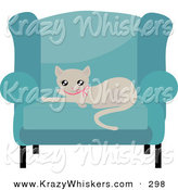 Critter Clipart of a Cute Beige Kitty Cat in a Pink Collar, Resting on a Cushion of a Blue Living Room Chair by Melisende Vector