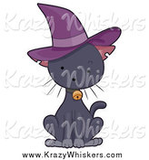 Critter Clipart of a Cute Black Kitten Wearing a Witch Hat by BNP Design Studio