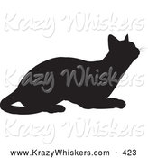Critter Clipart of a Cute Black Silhouetted Feline Curiously Looking Upwards by KJ Pargeter