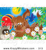 Critter Clipart of a Cute Blue Bird Flying over a Puppy Dog and a Cat with a Ball in a Field of Spring Daisy Flowers by Alex Bannykh