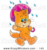 Critter Clipart of a Cute Blue Eyed Orange Kitten Waving and Strolling with an Umbrella on a Rainy Day by Alex Bannykh