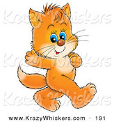 Critter Clipart of a Cute Blue Eyed Orange Kitten Waving and Walking on Its Hind Legs by Alex Bannykh