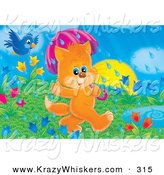 Critter Clipart of a Cute Blue Jay Bird Flying Behind an Orange Kitten Using an Umbrella While Walking by a Puddle Through a Field of Tulips on a Rainy Spring Day by Alex Bannykh