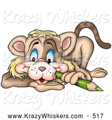 Critter Clipart of a Cute Brown Cat Poking His Cheek with a Green Color Pencil by Dero