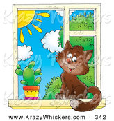 Critter Clipart of a Cute Brown House Cat Sitting by a Spiky Cactus in a Window, Looking Outside on a Sunny Day by Alex Bannykh