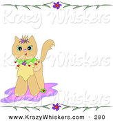 Critter Clipart of a Cute Brown Kitten on a Pink Rug, with a Stationery Border of Flowers and LeavesCute Brown Kitten on a Pink Rug, with a Stationery Border of Flowers and Leaves by