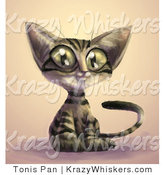 July 18th, 2012: Critter Clipart of a Cute Brown Tabby Cat with Black Stripes and Large Green Eyes, Sitting with an Innocent Look on His Face by Tonis Pan