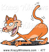 Critter Clipart of a Cute but Devilish Orange Cat Scratching the Ground, with a Shadow by Dennis Holmes Designs