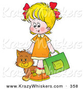 Critter Clipart of a Cute Cat Following a Blond Girl on Her Way to School by Alex Bannykh