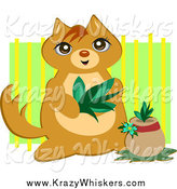 Critter Clipart of a Cute Cat Planting a Plant over Green by