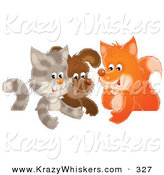 Critter Clipart of a Cute Cat, Puppy and Fox Chatting in a Group Together by Alex Bannykh