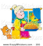 Critter Clipart of a Cute Cat Watching a Grandmother Carrying Fancy Bread in a Kitchen by Alex Bannykh