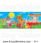 Critter Clipart of a Cute Cat with an Accordian and Bear with a Book Waving at a Piggy in a Tram Car by Alex Bannykh