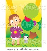 Critter Clipart of a Cute Caucasian Girl and Cat Outdoor by a Tree by