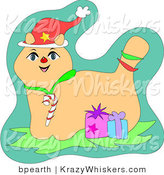 Critter Clipart of a Cute Christmas Cat Wearing a Santa Hat and Candy Cane Collar, Standing with Two Gifts by Bpearth