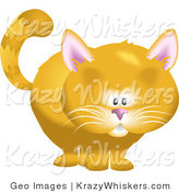 Critter Clipart of a Cute Chubby Orange Cat by Geo Images