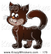 Critter Clipart of a Cute Dark Brown Kitten Standing with His Tail High by Alex Bannykh