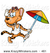 Critter Clipart of a Cute Friendly Leopard in a Tank Top, Running with a Beach Umbrella by Dero
