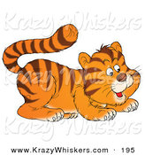 Critter Clipart of a Cute Frisky Tiger Cub Playfully Crouching down by Alex Bannykh