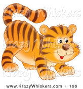 Critter Clipart of a Cute Frisky Tiger Cub Swishing His Tail and Crouching Low on His Front Legs While Stalking Something by Alex Bannykh