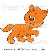 Critter Clipart of a Cute Ginger Cat Walking to the Right, Looking Back over His Shoulder by Alex Bannykh