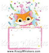 Critter Clipart of a Cute Ginger Kitten Wearing a Party Hat and Looking over a Blank Party Sign with Colorful Confetti by Pushkin