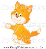 Critter Clipart of a Cute Ginger Kitten with White Paws and Cheeks, Sitting up on His Hind Legs and Holding One Paw up by Alex Bannykh