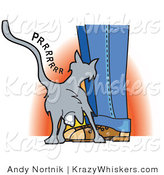 Critter Clipart of a Cute Gray Cat Purring and Rubbing up Against a Person's Legs by Andy Nortnik
