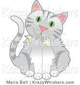 Critter Clipart of a Cute Gray Tabby Kitty with Green Eyes, Holding a Fishbone in Its Mouth by Maria Bell