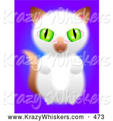 September 29th, 2013: Critter Clipart of a Cute Green Eyed Brown and White Kitten Sitting up on Its Hind Legs and Begging on Purple by Prawny