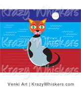 Critter Clipart of a Cute Green Eyed Calico Cat Sitting on a Wall at Night with the Full Moon Shining over the Ocean Waters by Venki Art